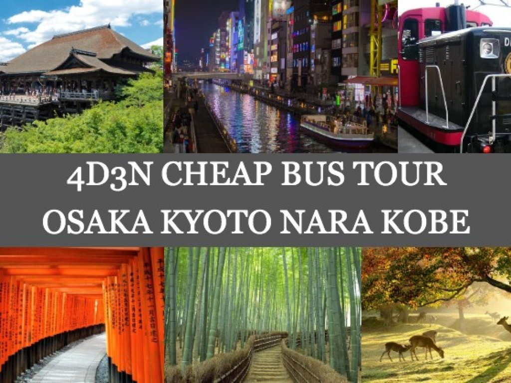 4D3N Cheap Bus Land Tour Package in Osaka Kyoto Nara & Kobe 0